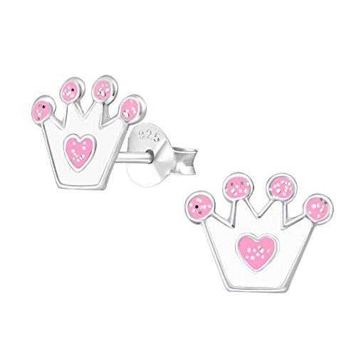 laimons niña niños de pendientes joyas Niños Corona Corona Rosa con purpurina plata de ley 925