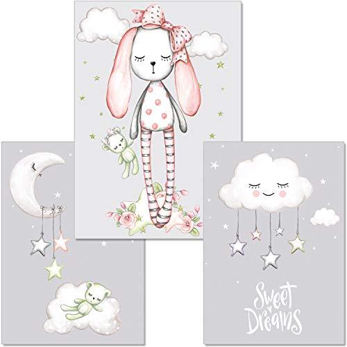 artpin® 3er-Set Poster Kinderzimmer - A4 Bilder Babyzimmer Mädchen - Mond Sterne Wolke Deko (P26)