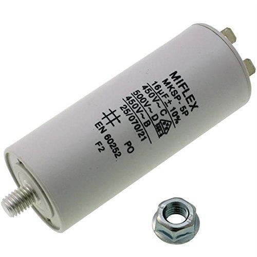 AnlaufKondensator MotorKondensator 16µF 450V 35x83mm Stecker M8 ; Miflex ; 16uF