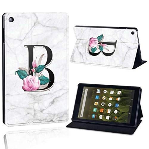 for Amazon Fire 7 5th/7th/9th Fire HD 8 2016/2017/2018,Fire HD 10 2015/2017 Printing PU Leather Tablet Stand Cover Case,Letter B on White,Fire HD 10
