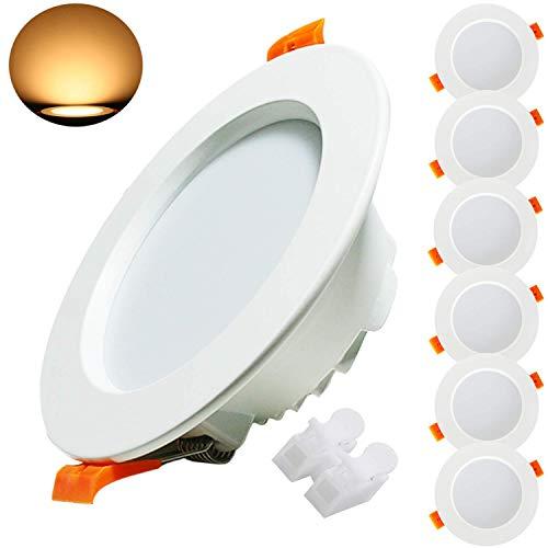 Kimjo Foco LED Empotrable 9W(equivalente 90W), Blanco Cálido 3000K 620lm Redondo Foco Empotrable LED Techo, 37mm Ultraslim Lámpara de Techo, AC 185V-260V, para Baño Sala de Estar Cocina 6 Pack