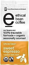 Ethical Bean Sweet Espresso Medium Dark Roast Fairtrade Organic Whole Bean Coffee (12 oz Bag)