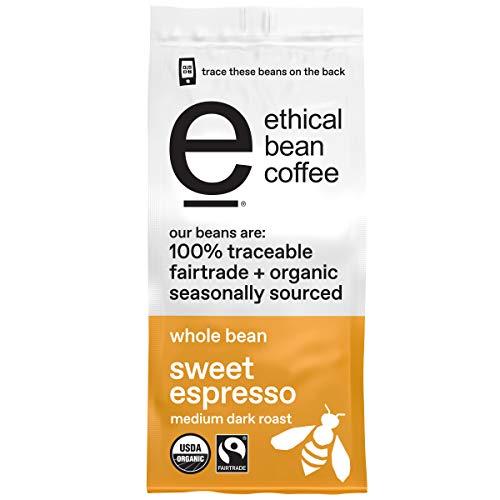Ethical Bean Fairtrade Organic Coffee, Sweet Espresso Medium Dark Roast, Whole Bean Espresso Coffee (12 Oz Bag), Sweet Espresso Medium Dark Roast, 0.75 Lb