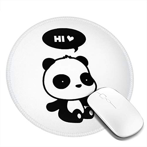 Round Mouse Pad Non-Slip Customized Rubber Base Mouse Mat Hello Cute Panda Mousepad Washable Premium-Textured Gaming Mouse Mat for Laptop Computer Home Consoles 1 Pcs