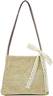 SODIAL Women Handbag Summer Fresh Feminine Woven Bucket Bag Handmade Grass Casual Tote Knitted Rattan Bags Beach Bag Khaki Trumpet