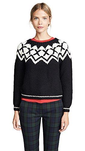 Velvet by Graham & Spencer Women's Robyn fair isle Sweater, Black/Ivory, S