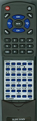Replacement Remote Control for Sharp RRMCGA357AWSA, XLHF102B, XL-HF102B