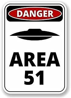 3 Pack - Danger Sign Area 51 WINDOW CLING STICKER Car Van Campervan Glass - Sticker Graphic - Construction Toolbox, Hardhat, Lunchbox, Helmet, Mechanic, Luggage