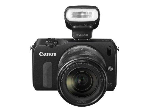 Canon EOS M Systemkamera (18 MP, 7,7cm (3 Zoll) Display, Full-HD, Touch-Display, Kit inkl. EF-M 18-55mm 1:3,5-5, 6 IS STM Objektiv und Speedlite 90EX) schwarz