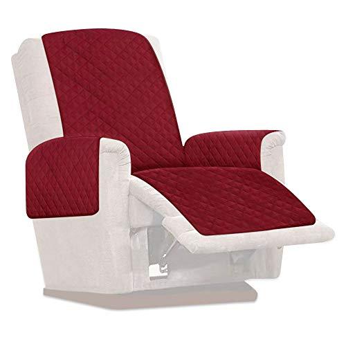 Protector de silla reclinable reversible, protector de muebles impermeable, funda reclinable antideslizante, funda de sofá de 1 plaza, funda protectora para sillón, sofá para mascotas (vino rojo)