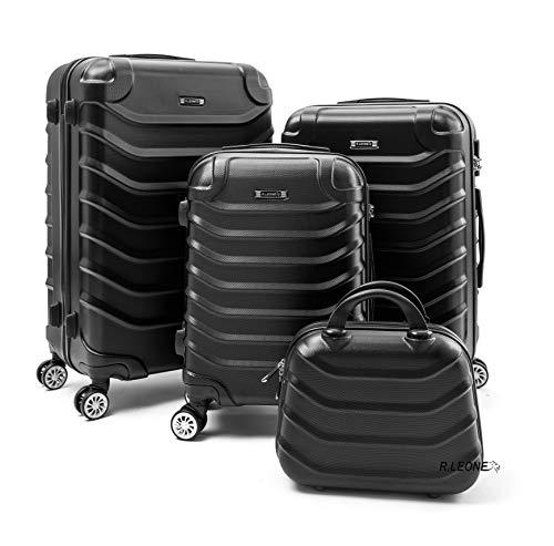 R.Leone Valigia Set 4 Trolley Rigido grande, medio, bagaglio a mano e beauty case 8 ruote in ABS 2026 (Grigio, Set da 4 pezzi)