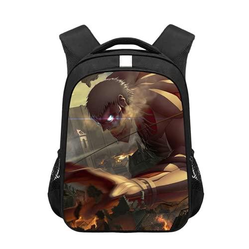 Mochila Anime Attack on Titan para juego de rol Scoadfinder, mochila escolar universitaria, mochila escolar para estudiantes, cómoda, adolescentes (Titanio, 17,28 x 10 x 40 cm)
