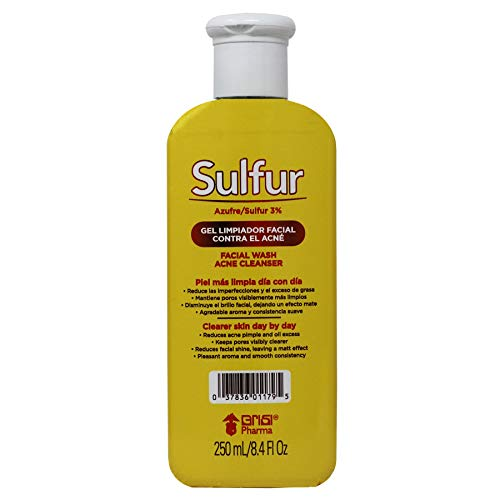 Grisi Sulfur Facial Wash, Acne Cleanser, Cleaner skin day by day, Facial Cleaner, Helps you reduce Oil Excess, Acne Pimples, and Facial Shine, Keeps Pores Cleaner, 8.4 Fl Oz, Bottle