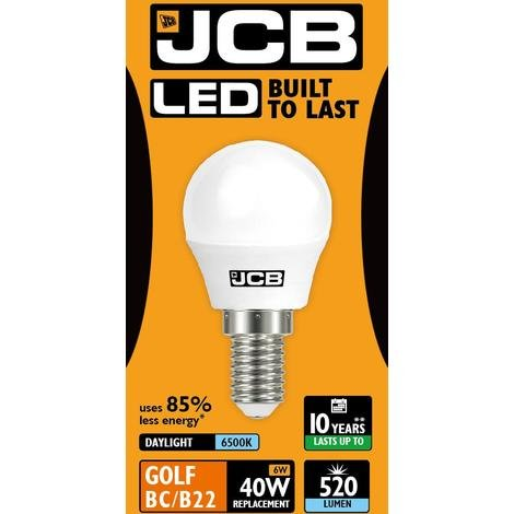 JCB [5-pack] = 6 W LED 40 W SES E14 opaal golfbal lamp 520 lm 6500 K daglicht (S10972)