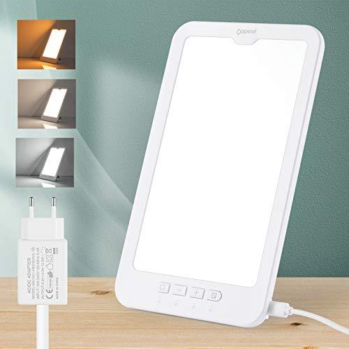 OPPEARL - Lámpara de luz diurna (10.000 lx, LED, para terapia de luz, fototerapia, temporizada (10 20 30 60 minutos), 2800 – 5700 K, regulable continuamente