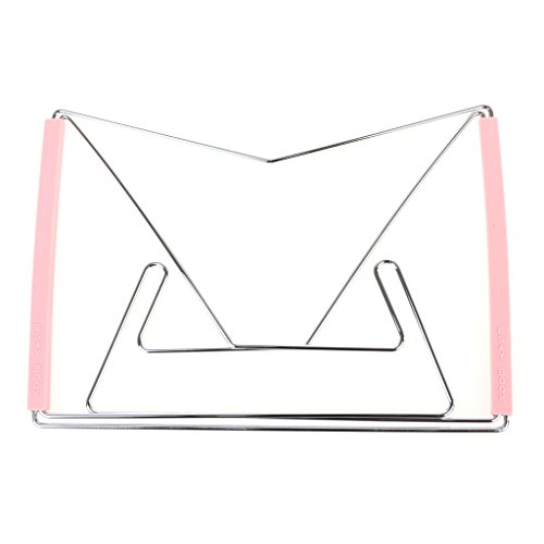 niumanery Hands Free Folding Tablet Book Reading Holder Stand Bracket Stainless Steel Rack Pink