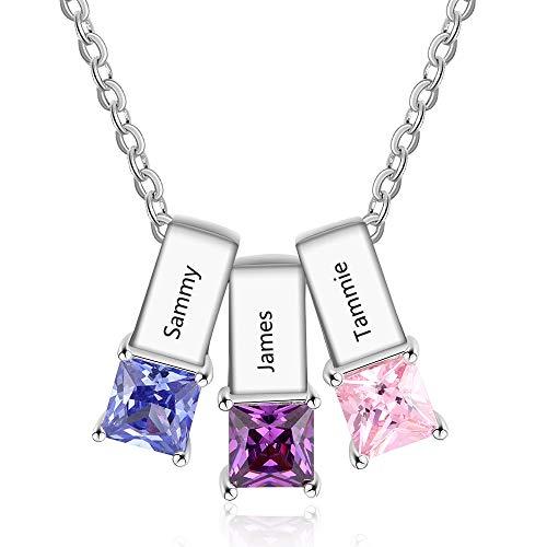 Collar personalizado para mujer, colgante de 1/2/3 nombres con piedras de nacimiento, regalo para cumpleaños, aniversario, madre, abuela, mejores amigos (#3)