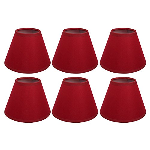 AFY Clip On Candle Lampshade Red Color Chandelier Lamp Shades Small Light Shade for Ceiling Pendant Light, Pack of 6