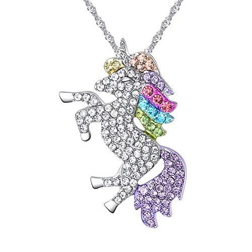 Nedoz Damen Halskette mit Einhorn und Strass Anhänger, Kinder Halskette, Mädchen Halsketten, Weihnachts Geschenke