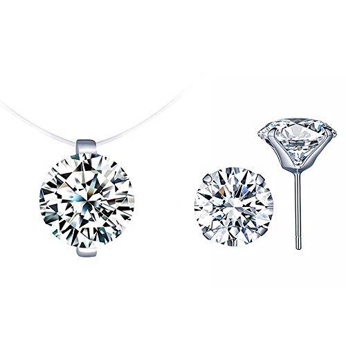 Juego de joyas de plata de ley 925 con forma de diamante cúbico redondo para mujer, caja de regalo.