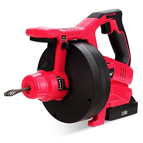 COSTWAY Desatascador de Desagües Dispositivo de Limpieza de Drenaje 2000 mAh/Tubos de 19-50mm/Espiral de 7,8 m/Eje de Limpieza de Drenaje de 560 rpm
