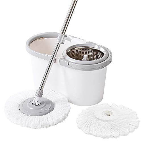 Maryya Microfiber Spin Mop Set with Bucket, Spin mop with Wringer Bucket,Split Dehydration Basket,Gray