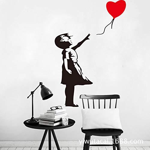 Banksy love globo adhesivo de pared tallado niña