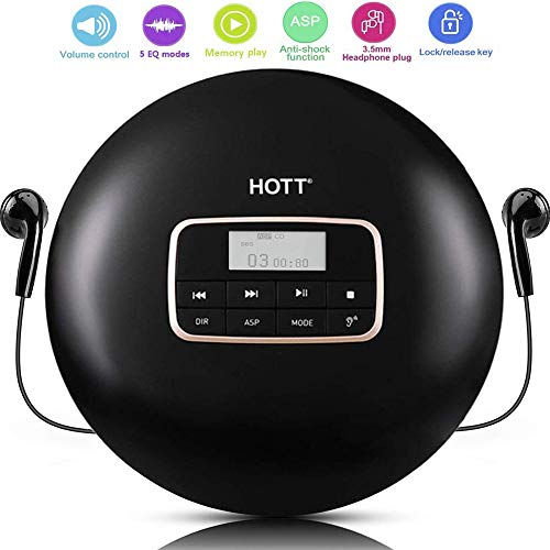Portable CD Player, HOTT CD511 Personal Small Walkman CD Disc Player, with Electronic Anti-Skip Anti-Shock Protection (Black)