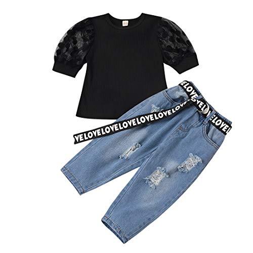 Kleinkind Baby Mädchen Jeans Kleidung Set Puff Ärmel Shirts Top Ripped Jeans Hosen 2Pcs Mode Sommer Herbst Outfits, Schwarz, 110, 3-4 Jahre