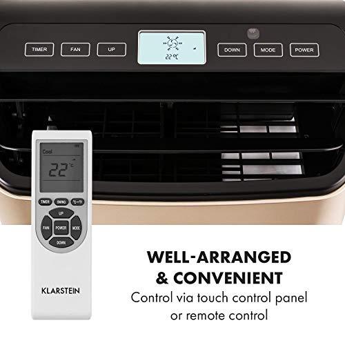 Klarstein Metrobreeze 9 Paris - Mobile Klimaanlage 3-in-1 Klimagerät: Ventilator, Kühlungs- und Luftentfeuchtungsfunktion (EEK: A, 9.000 BTU, 1050 Watt, 15-20 m² Raum, Timer, Bodenrollen) Bronze