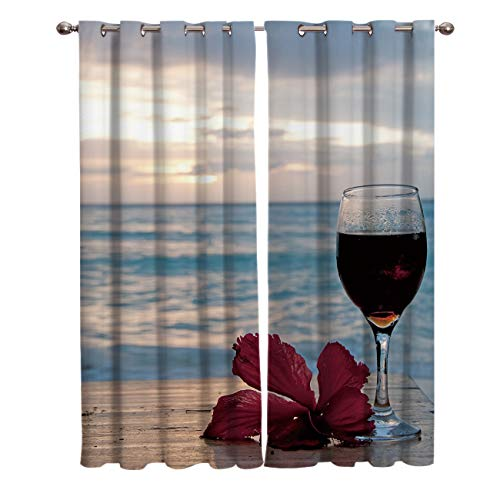 Edwiinsa Romantic Kitchen Blackout Curtains Window Drapes Treatment, 2 Panels Set for Kitchen Cafe Office, Having a Drink in The Seaside Theme Red Wine in a Glass Sunset Background, 55W x 39L inch