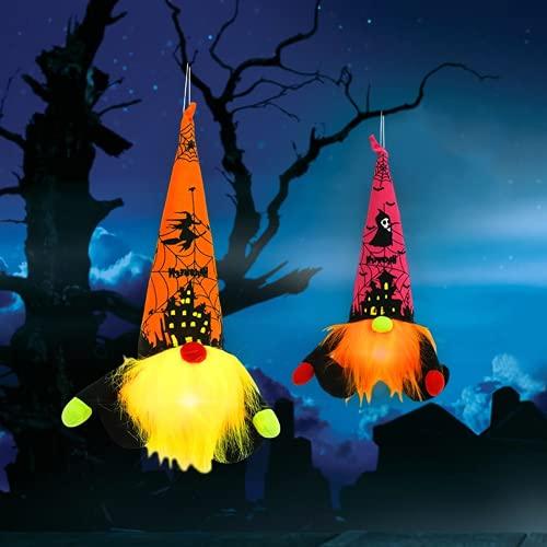 KEAIDO Adorno de decoración de gnomo de Halloween, luz LED, colgante de árbol fantasma, bruja, araña, murciélago, muñeca sin rostro, Tomte sueco, Nisse escandinavo, favorito, linterna resplandor otoño