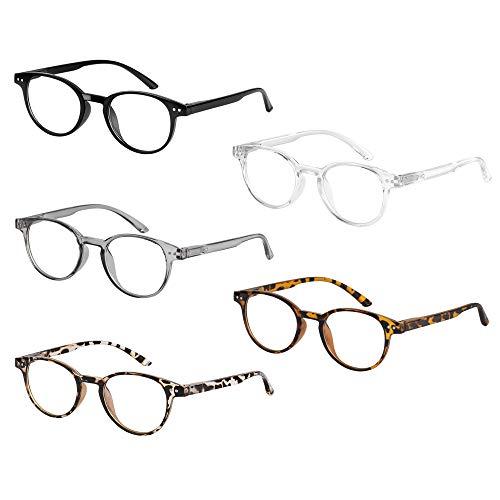 Reading Glasses Blue Light Blocking 5 Pack, Retro Round Readers Anti Eye Strain/Glare/UV Ray Filter Computer Screen Eyeglasses Women Men (5 Pairs Mix, 1.5)