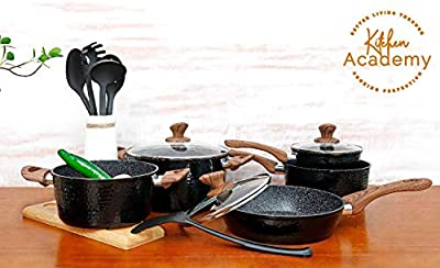 Kitchen Academy 15 Piece Nonstick Granite-Coated Cookware Set Suitable for All Stove Including Induction - Wooden Handle?Soft Touch?Dishwasher Safe
