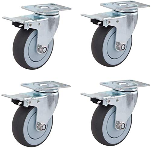 Casters Rubber Swivel Castor with Brake Trolley Furniture 75/100mm Castor Wheels Industrial with Bearings Pack of 4 (Color : Brakes, Size : 100mm)