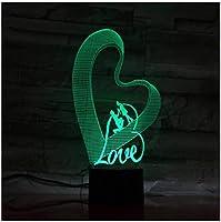 3Dイリュージョンナイトライト ロマンチックな恋 スマートタッチ キッズおもちゃナイトライト3Dオプティカルイリュージョンナイトランプスマートタッチ+7色変更調光可能、誕生日プレゼント男の子クリスマス女の子