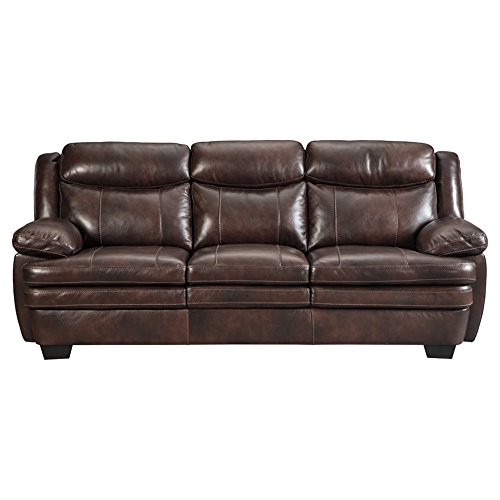 Signature Design by Ashley - Hannalore Contemporary Faux Leather Sofa, Brown