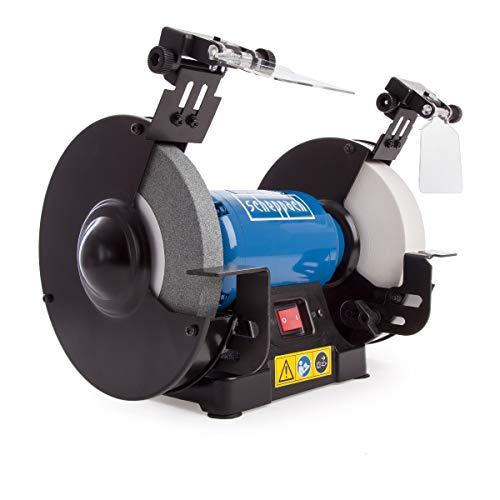 Scheppach 5903110901 Ponceuse double SM200AL polyvalente avec disque à ébarber et lampes de travail à LED, protection anti-étincelles réglable, moteur 0,5 CV, 500 W, 230 V