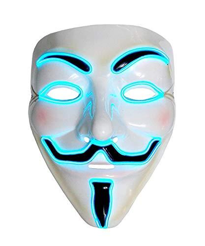 Inception Pro Infinite Maschera per Costume - Travestimento - Carnevale - Halloween - V per Vendetta - Anonymous - Led Luminoso - Blu - Adulti - Unisex - Donna - Uomo - Ragazzi