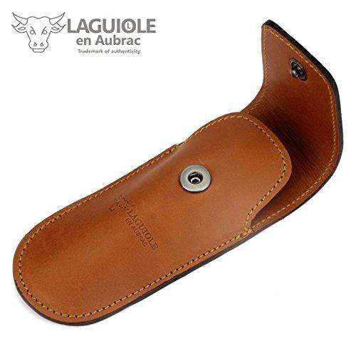 Laguiole en Aubrac - etui en cuir marron pour une couteau pliant de chasse de Laguiole