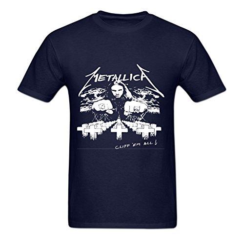 Santadra Men's Graphic Tees Metallic Cliff Lee Burton White Short Sleeve T-Shirts
