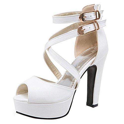 RAZAMAZA Damen Blockabsatz Gladiator Sandalen Plateau High Heel Party Schuhe (34 EU, White)
