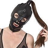 weiche Leder Maske mit Zopf, Kunstleder Haube Haare