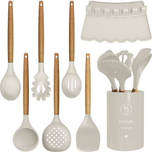 Silicone Cooking Utensils - Kitchen Utensil Set with Holder.Slotted/Solid Spoon,Turner,Spatula,Pasta server,Deep Soup Ladle.Wooden Handles Kitchen Gadgets Tools Set.Non-Stick Cookware Friendly (Khaki)