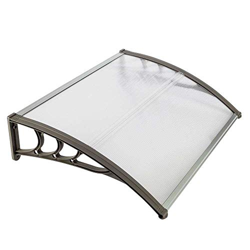 FRITHJILL Door Window Awning, Polycarbonate Cover Rain Sun Shetter Solid Sheet 3 Colors,39.37 x 31.5 Inch