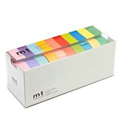 1 x MT Washi masking tapes set of 10 - bright colors Japanese Washi masking from Japanese masking tape Brand MT (kamoi kakoshi) tape, easy to stick and Peal, good for decoration Model: MT10P003