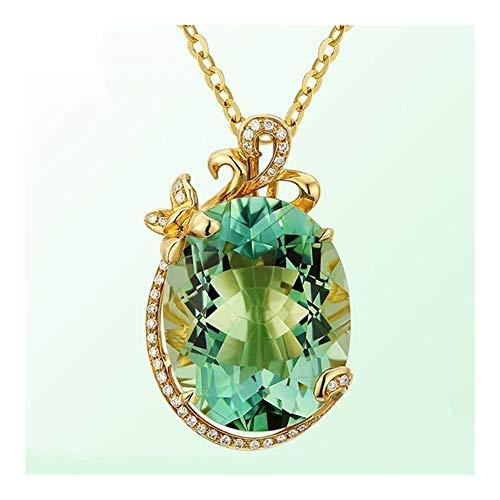 LUOSI Los Diamantes ovales Grandes Piedras Preciosas Esmeralda Collares Pendientes for el Cristal Verde Mujeres Gargantilla del Tono de la Vendimia joyería de la Cadena Colgante