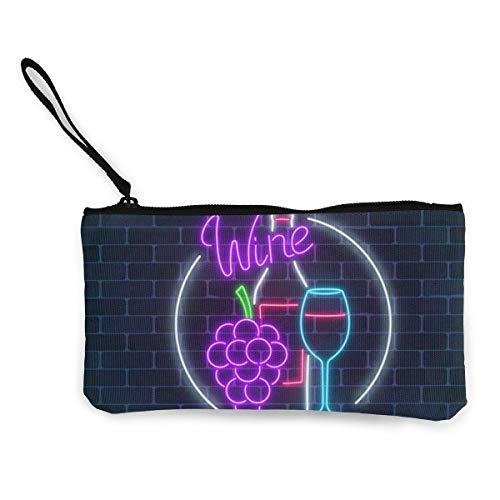 Letrero brillante de neón de tienda de vinos en marco circular Monedero de lona con cremallera Bolsa de maquillaje con correa para la muñeca Bolsa de teléfono de efectivo 8.5 X 4.5 pulgadas