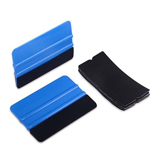 Winjun 2 Pack Blau Auto Rakel Filzkante Filzrakel Folienrakel Verkleberakel Kunststoffrakel Andrückrakel Kantenrakel mit 5 stück Rakelfilz für Autofolien Tönungsfolie Fensterfolien Lackschutzfolie