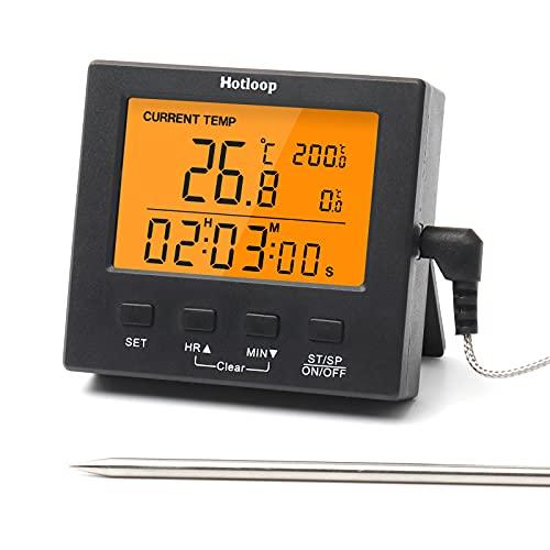 Hotloop Digitales Grill-Thermometer Bratenthermometer mit Alarm für Hohe/Niedrige Temperatur Ofenthermometer, Timer, Orange Hinterbeleuchtung Fleischthermometer, Temperaturbereich -50-300°C